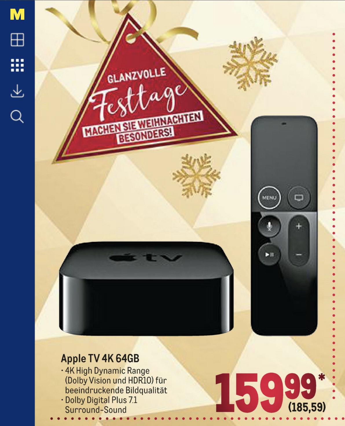 Apple TV 4K 64GB bei der Metro ab 10.12.2020 für 185,59€