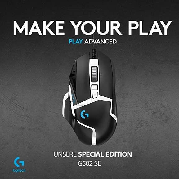 Logitech G502 HERO Gaming-Maus Special Edition, Hero 16000 DPI Sensor, RGB-Beleuchtung, Gewichtstuning für 37,98€ inkl. Versandkosten
