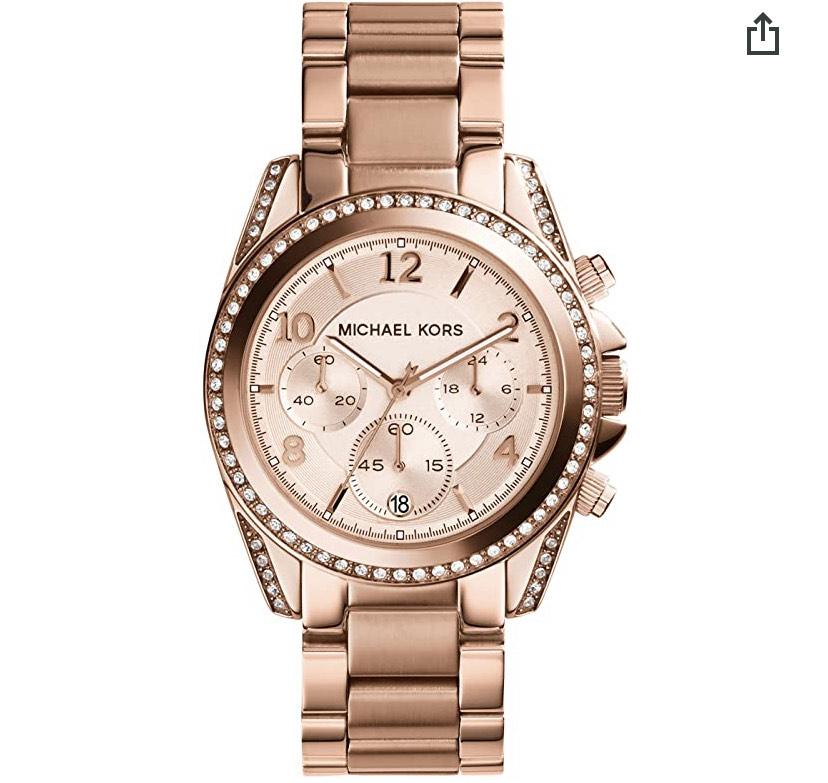 MICHAEL KORS Damen Uhr - Rundes Edelstahlgehäuse (Durchmesser 39 mm), glänzend roségold
