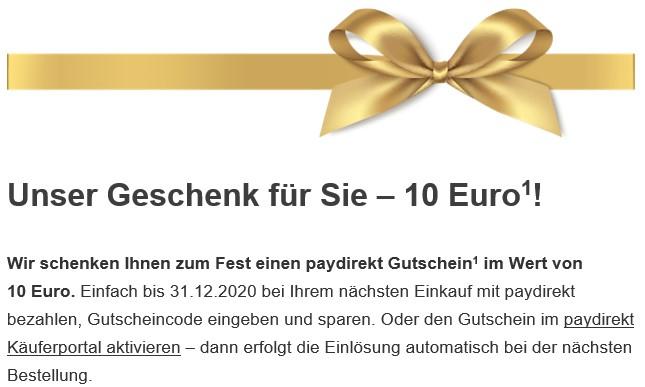 paydirekt schenkt Ihnen 10 Euro für Ihre Weihnachtseinkäufe [Commerzbank; Personalisiert?]