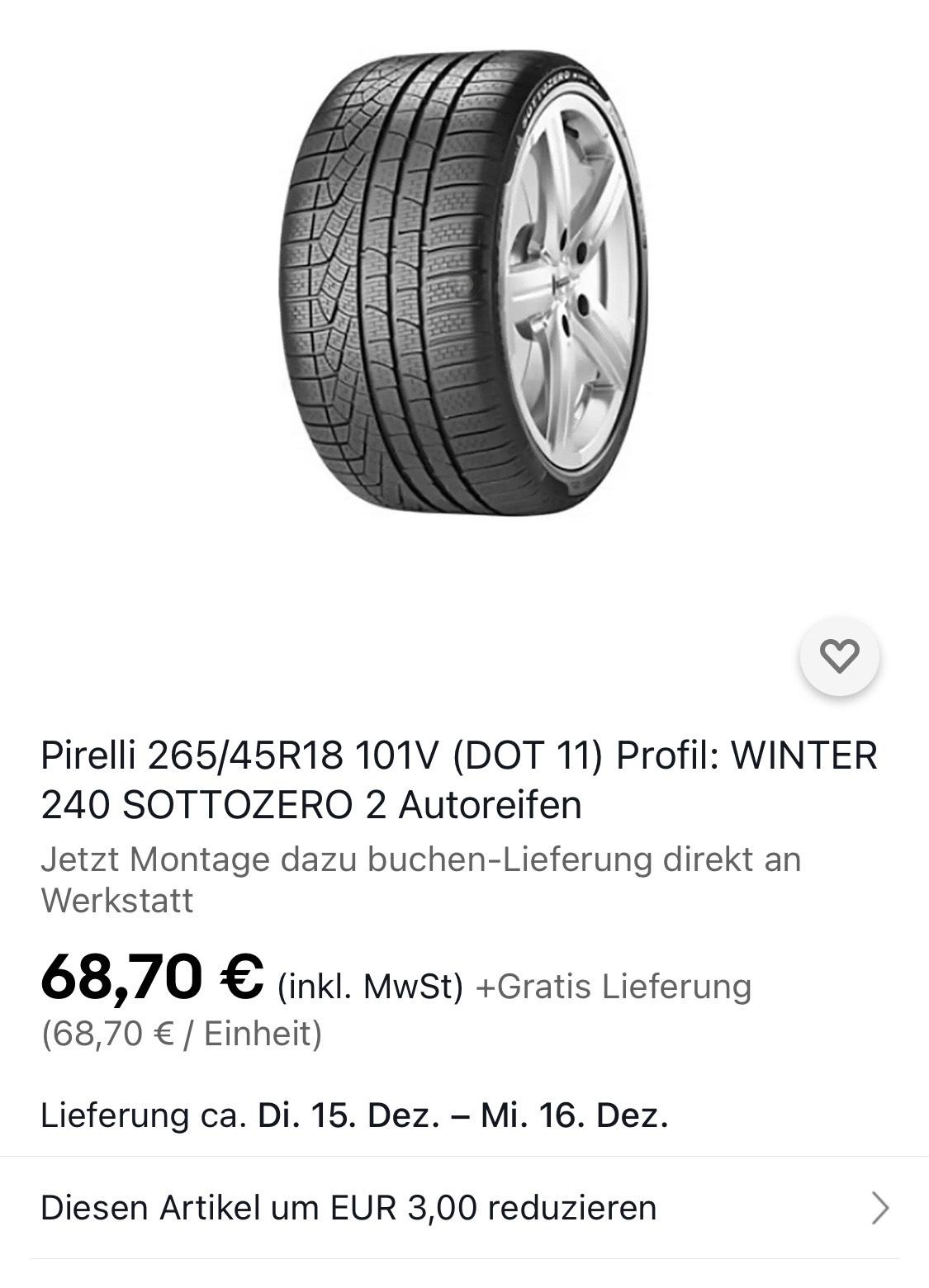 Winterreifen Pirelli W 240 SottoZero II 265/45 R18 101V bei eBay für 68,70€ Inkl. Gratis Lieferung