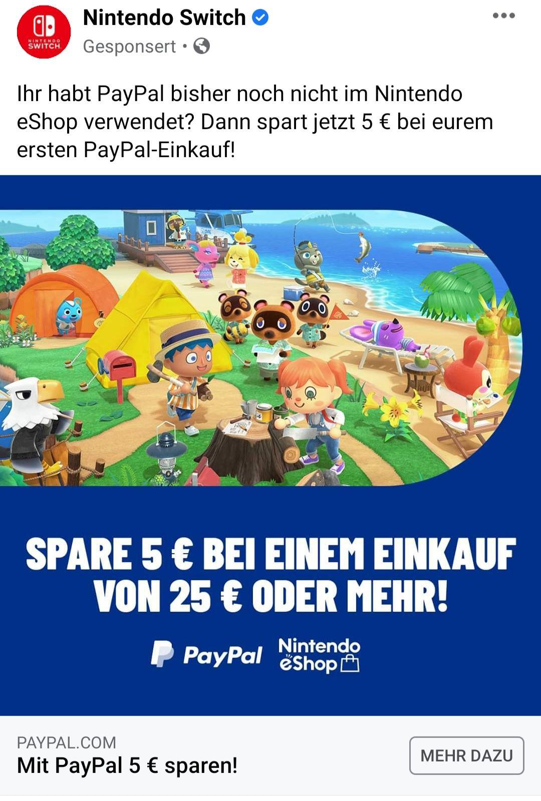 5 € RABATT auf Ihren nächsten Einkauf ab 25 € im Nintendo eShop mit PayPal