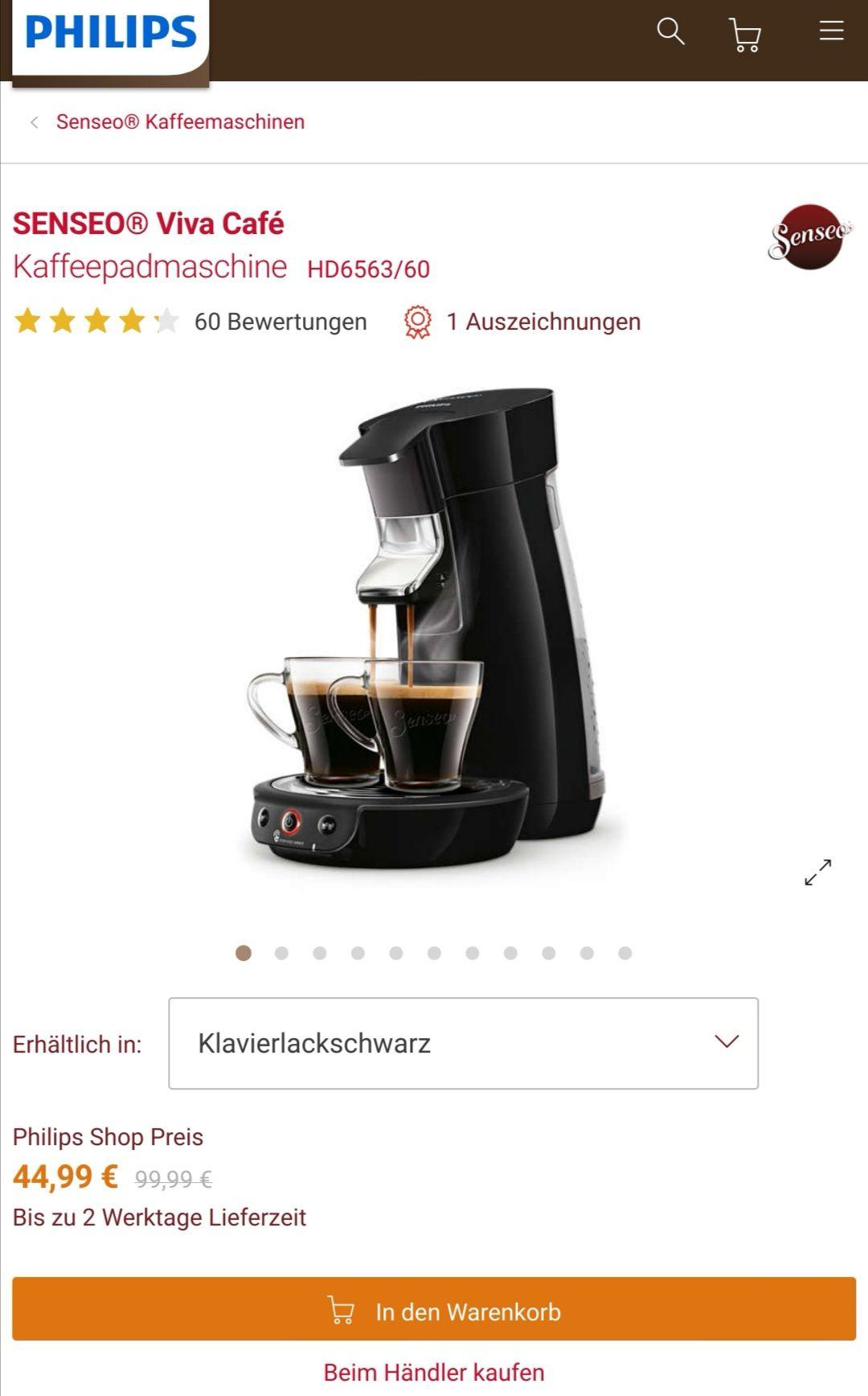Kaffeepadmaschine Philips Senseo HD6563/60 für 34,99€ mit 10€ Newslettergutschein direkt beim Hersteller