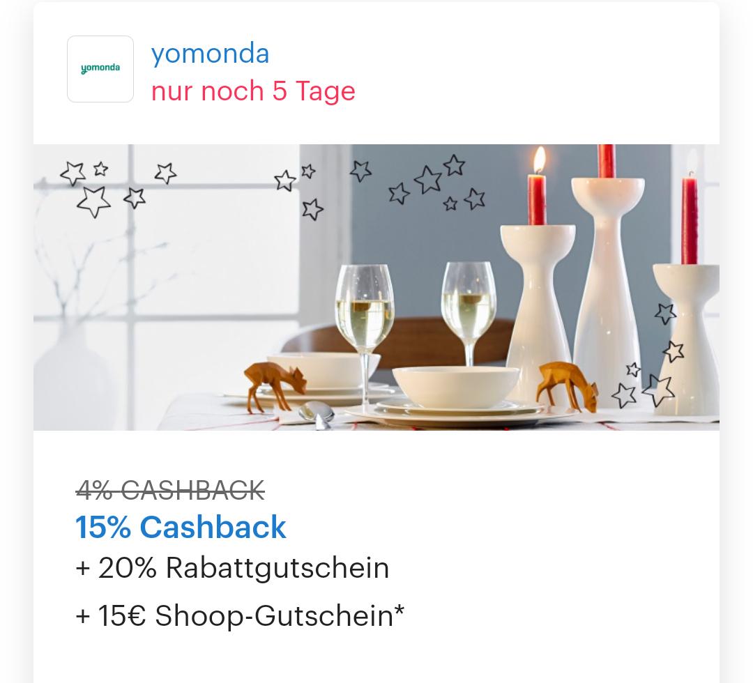 [Shoop] yomonda 15% Cashback + 20% Gutschein + 15€ Shoop-Gutschein