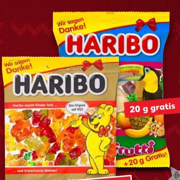 HARIBO 220g Beutel (ab 2,45€/kg) und Standardgrößen Fruchtgummis oder Lakritz