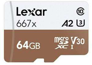 Lexar microSDXC Card 64GB High-Performance 667x UHS-I U3 [Click & Collect eBay MediaMarkt]