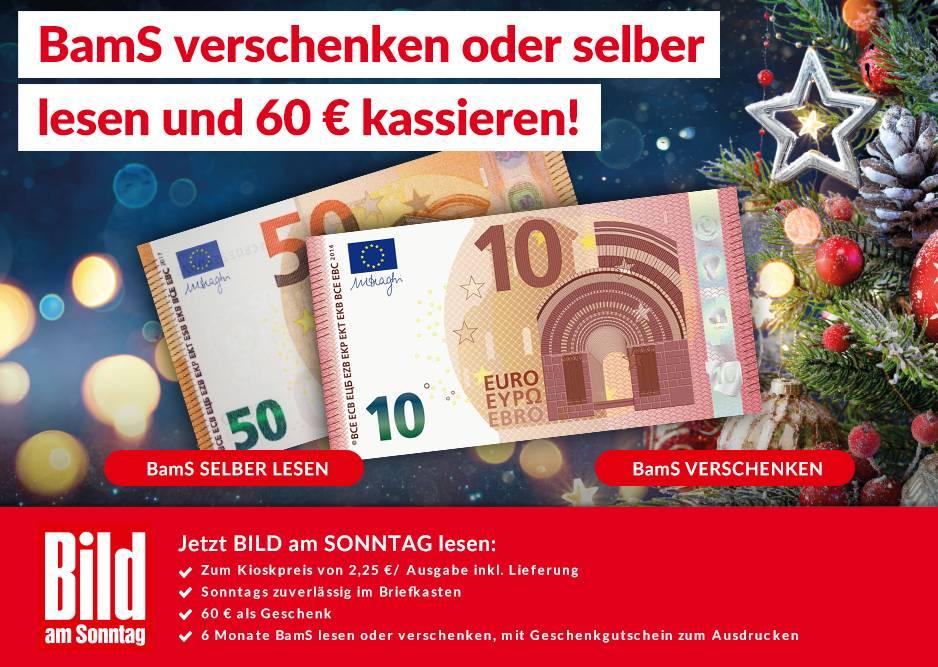 BamS (Bild am Sonntag) - 6 Monate für 58,50 € lesen und 60,00 € Barprämie erhalten