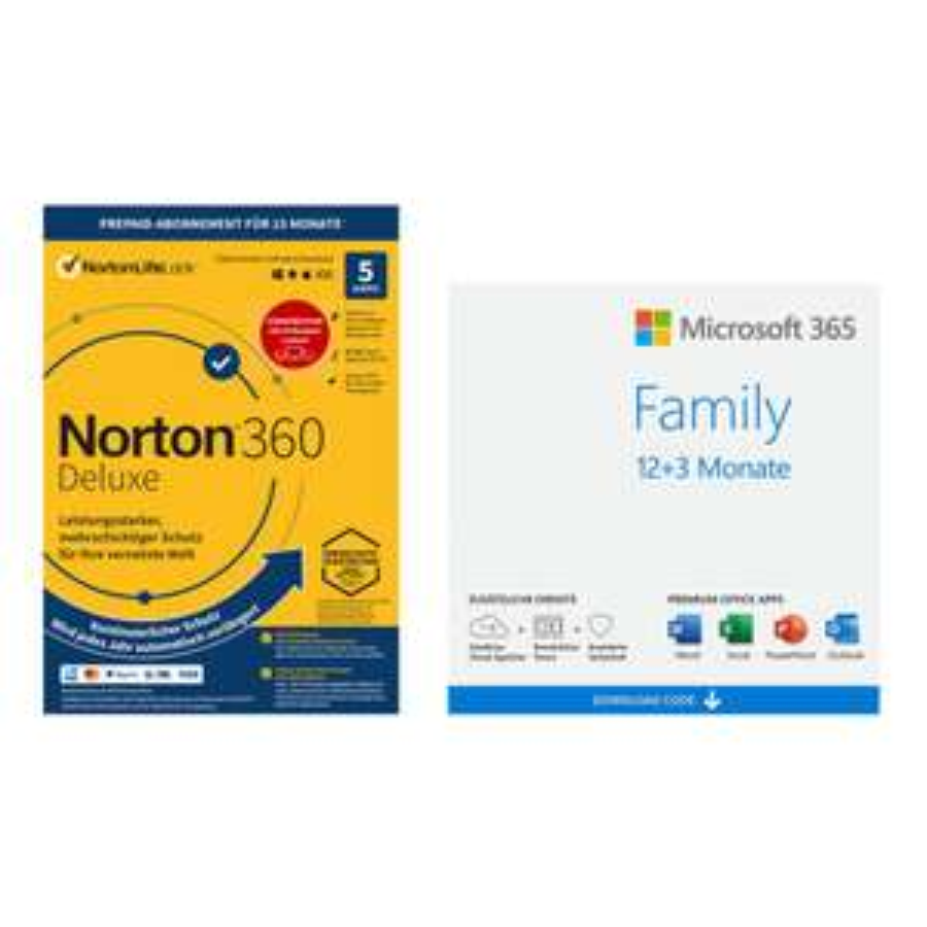 Microsoft 365 Family - 12+3 Monate inkl. Norton (= 49,85 / 12 Monate = 4,15€ p.M.)