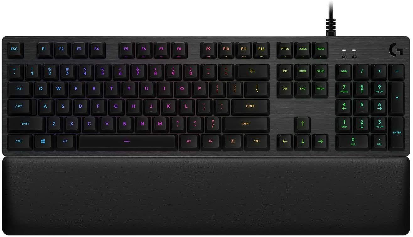 Logitech G513 mechanische Gaming-Tastatur, GX-Red Linear Switches, RGB-Beleuchtung, USB-Durchschleife, Handballenauflage mit Memory