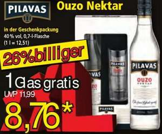 Ouzo Nektar Pilavas 40%-Vol. 0,7 l Fl. + Gratisglas für 8,76 € @ Norma ab 21.12.