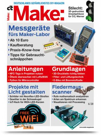 c't Hacks Make Abo (2 Ausgaben) + 10€ Amazon-Gutschein oder Raspberry Pi Zero WH + Make Maske für 13,80 €