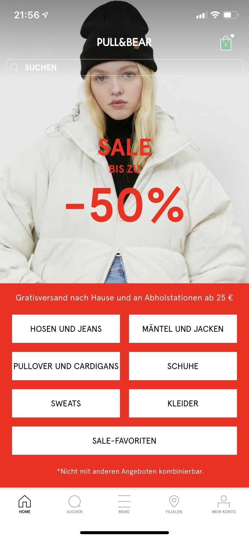 Pull and Bear Sale, bis zu 50%, VSKfrei ab 25€