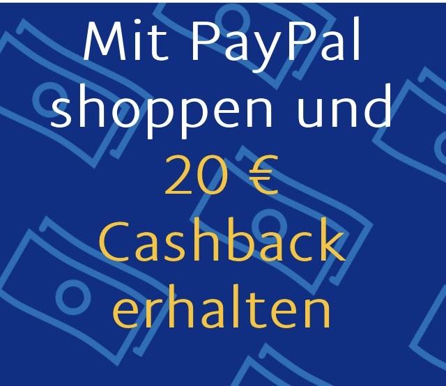 Paypal 20€ CASHBACK 3x Einkauf bei Teilnehmenden Händlern