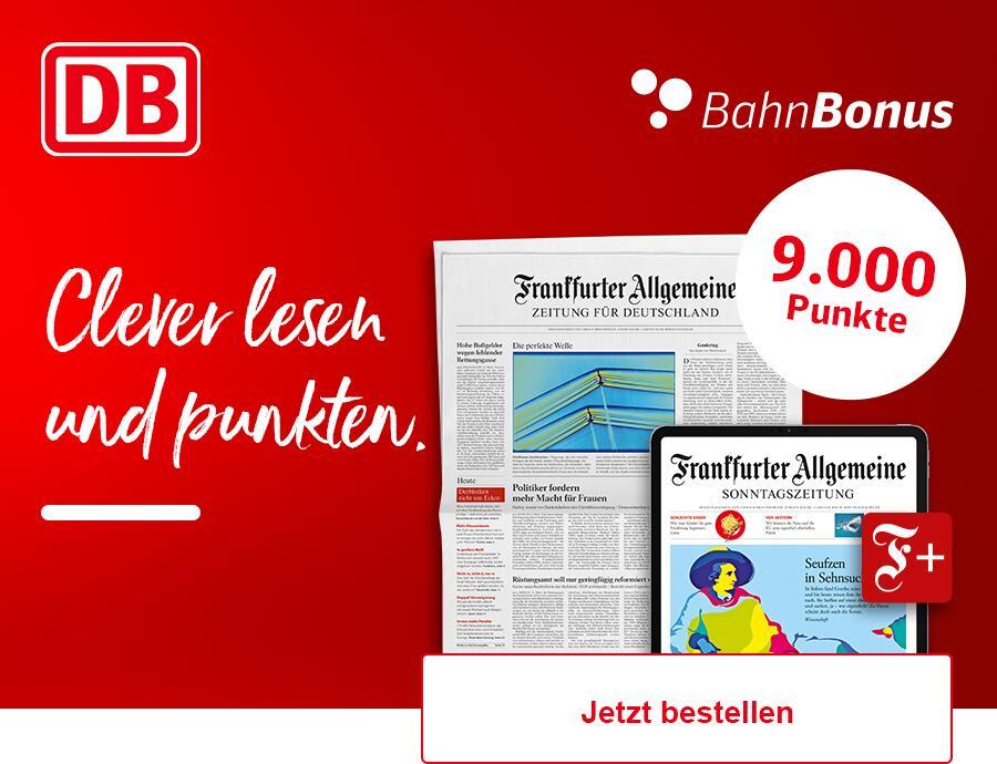 [BahnBonus] 9000 Punkte (also 9 Freifahrten 2. Klasse) mit FAZ Digital Abo