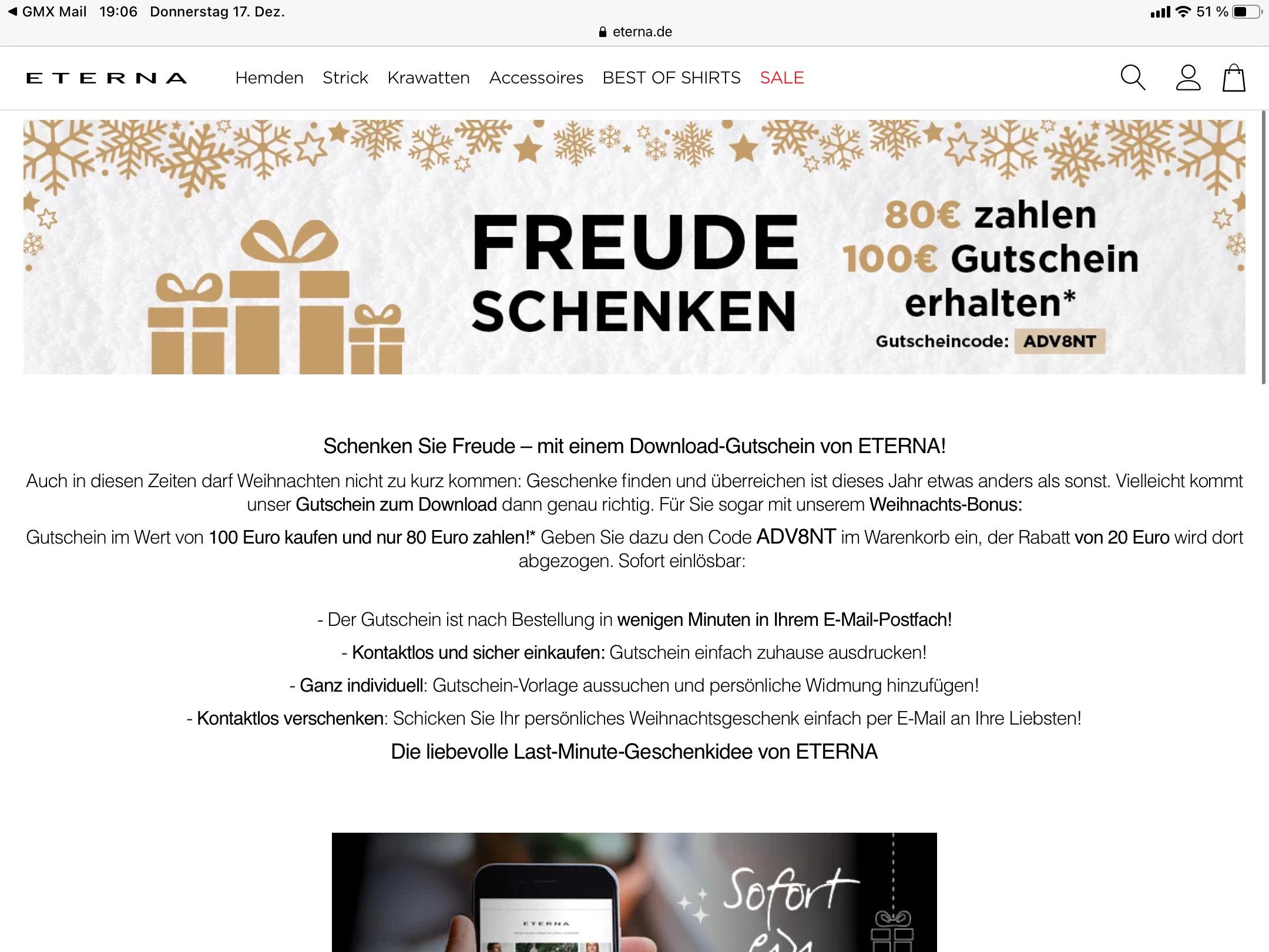 Eterna-Gutschein 100€ für 80€