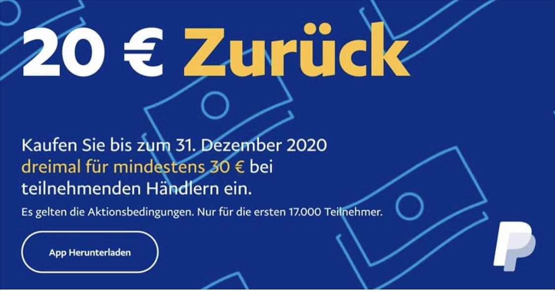 Paypal 20€ Cashback bei 3x30 Euro Kauf bei teilnehmenden Händlern