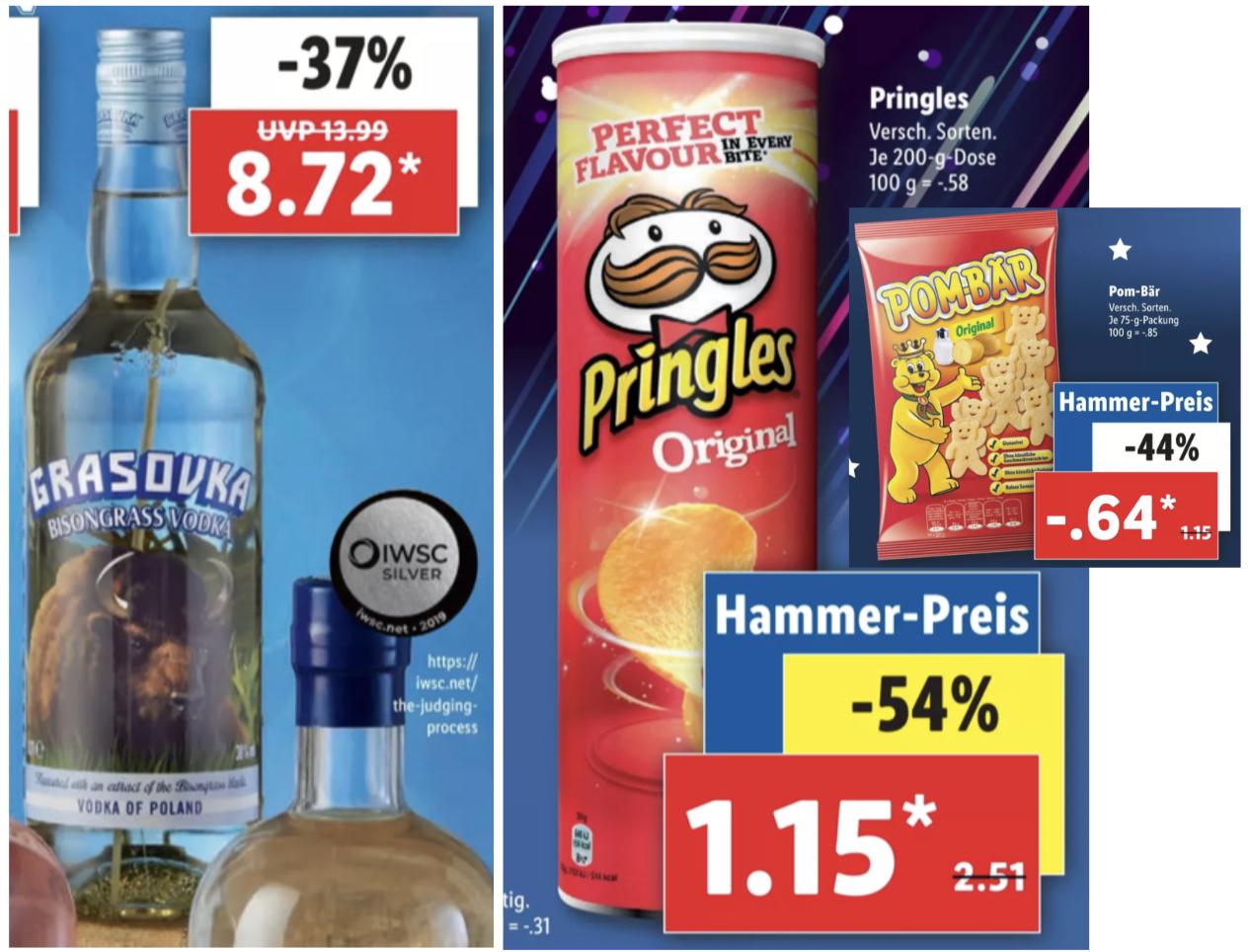 Grasovka Wodka 0,7l Flasche 8,72€ / Pringles versch. Sorten je 1,15€ / Pom-Bär Snack versch. Sorten für je 0,64€ und weitere Angebote