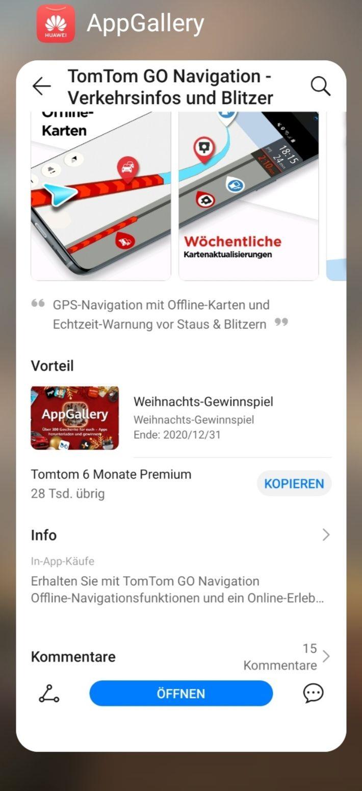 [Huawei AppGalary] TomTom Go 6 Monate kostenlos