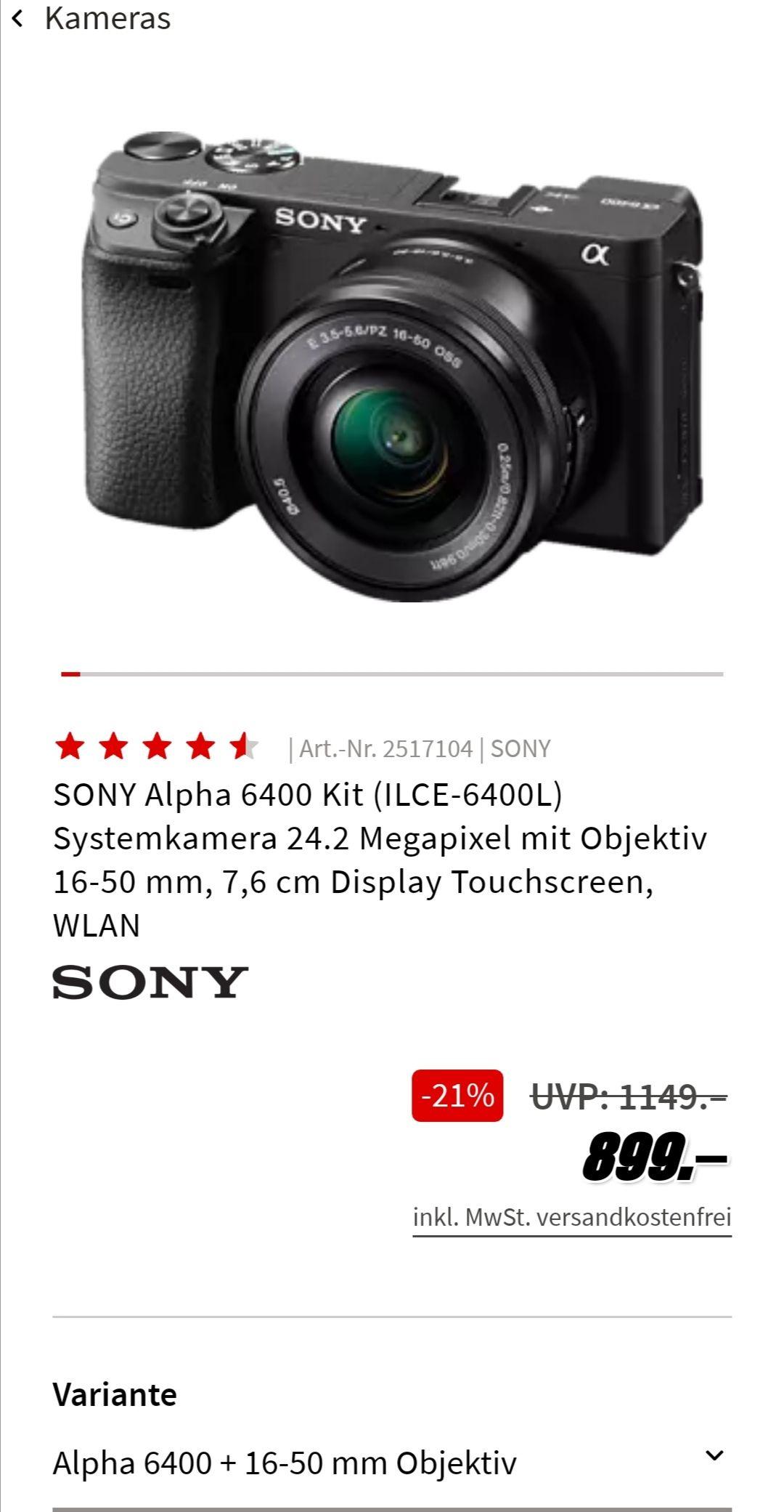Sony Alpha 6400 (ILCE-6400 KIT mit 16-50mm)