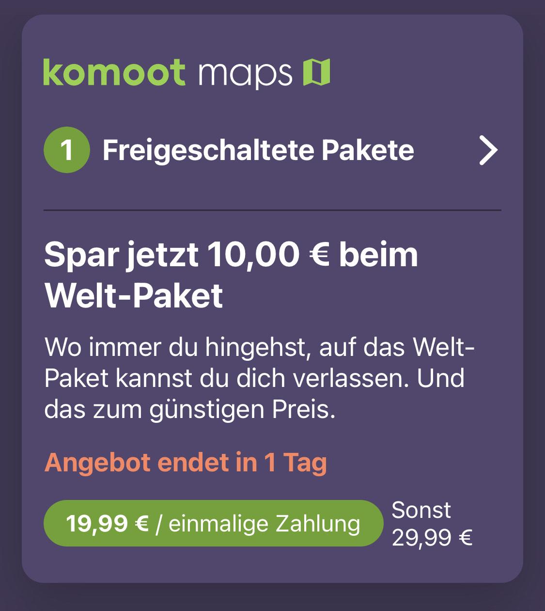 Komoot Welt-Paket 19,99 (normal 29,99) personalisiert