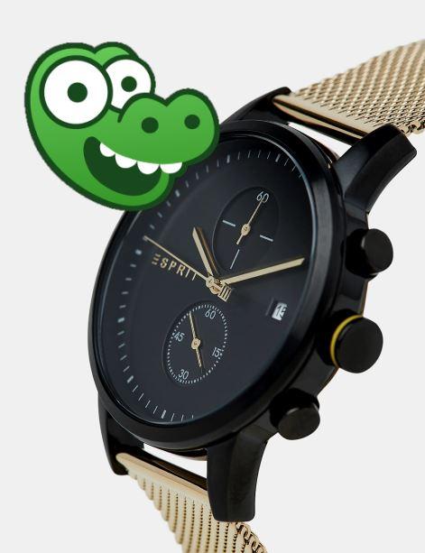 ESPRIT Herren-Uhren, z.B. Edelstahl-Chronograph (Gold) für 90,98 EUR