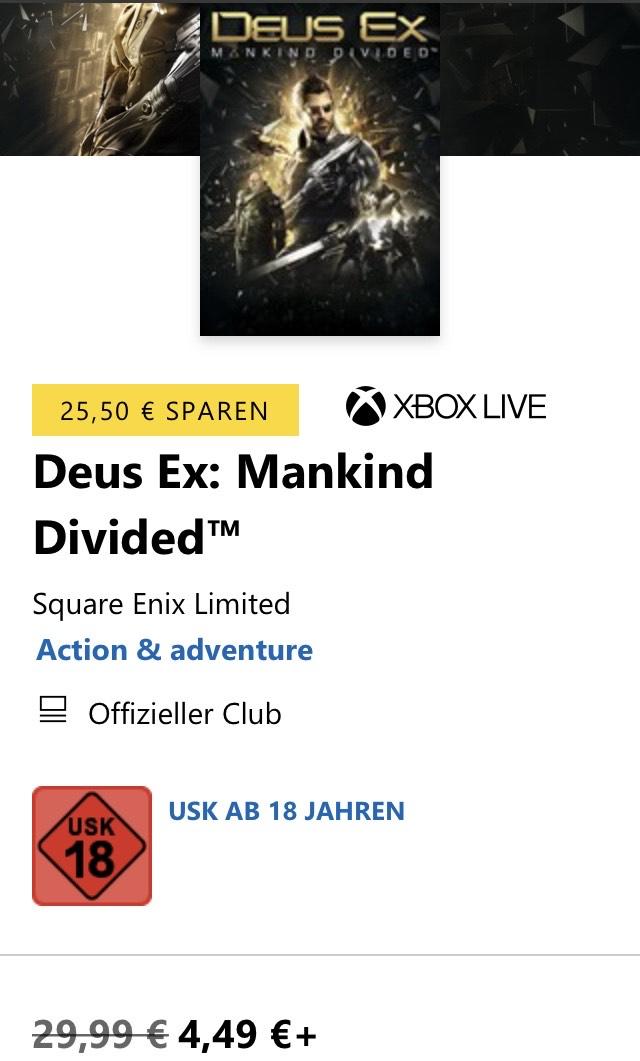 XBOX Deus Ex Mankind Divided 4,49€, Titanfall 2 3,99€, Fallout 4 8,99€ u.v.m.