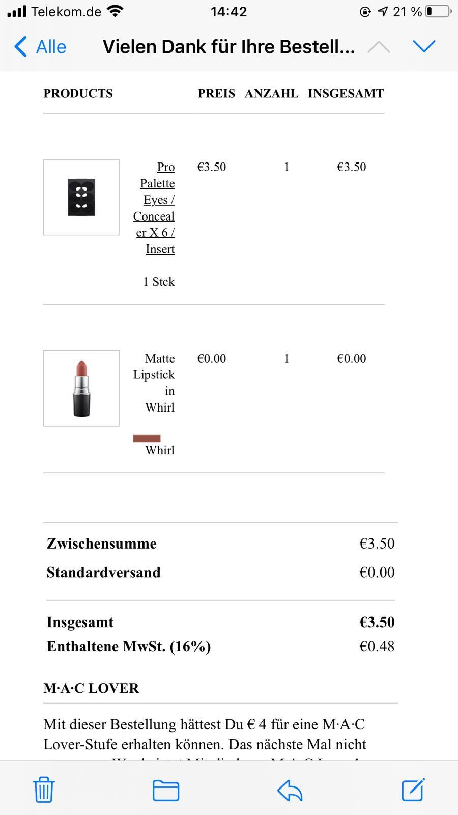 Mac Lippenstift *Whirl* für umsonst, anstatt 21,50€!