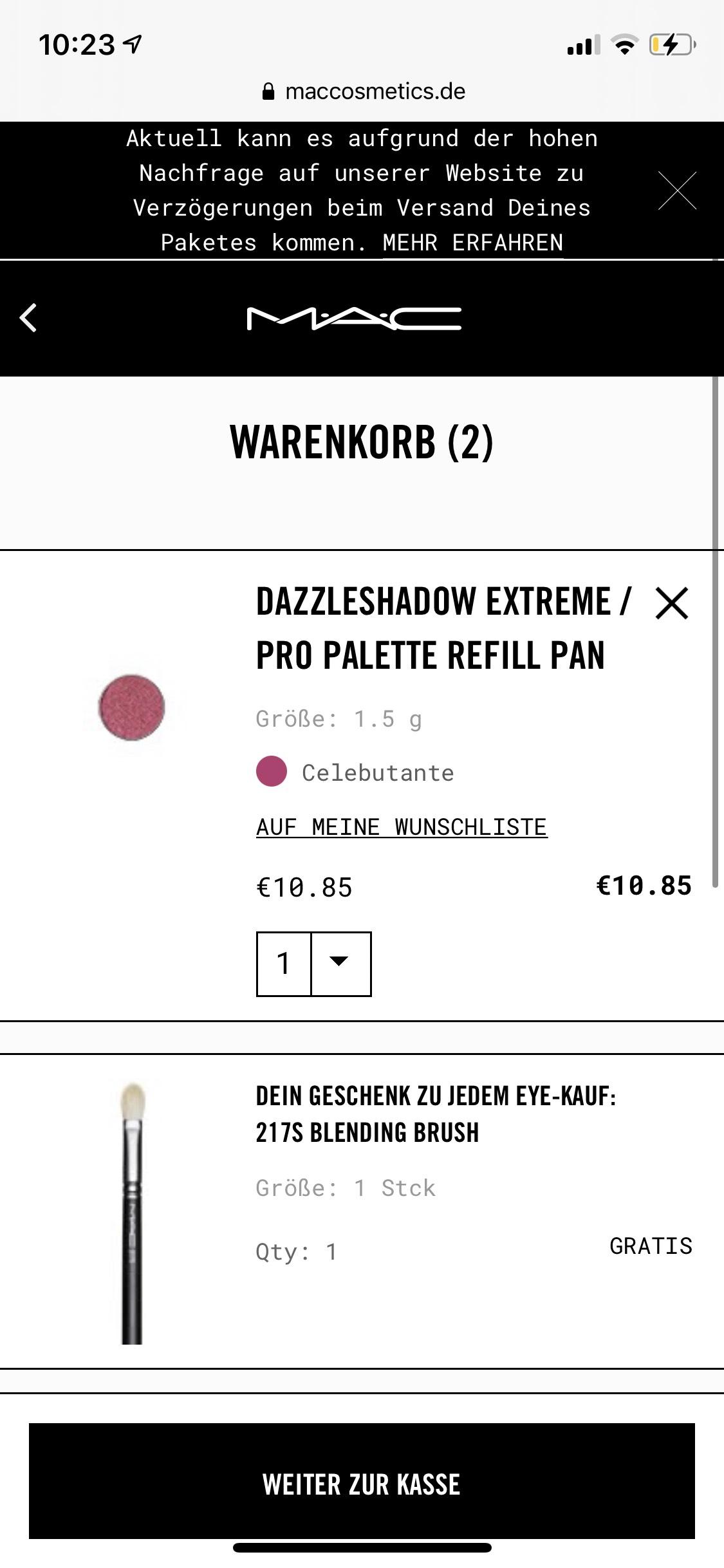 MAC Augenprodukt kaufen (günstigste 10,85€) + MAC Pinsel gratis(28,50€)