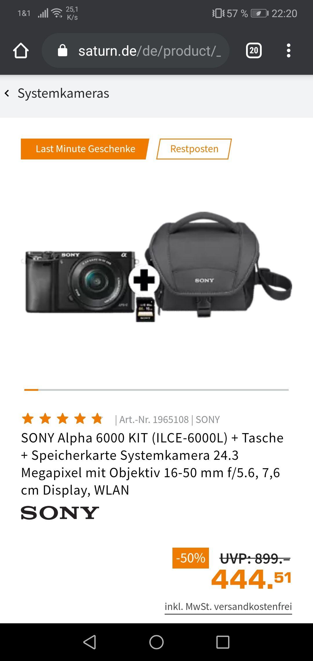 Sony Alpha 6000 + 16-50mm Kit Objektiv + Tasche + 16GB Speicherkarte