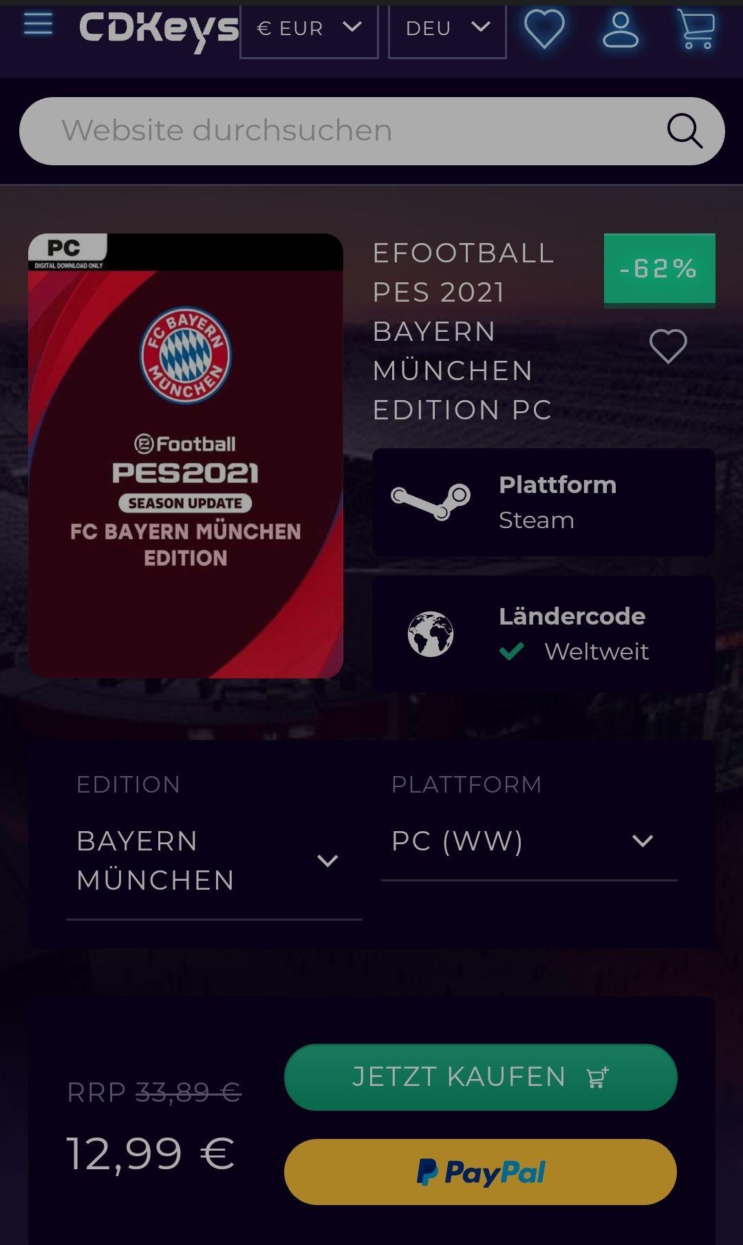 eFootball PES 2021 Vollversion Season Update PC FC Bayern und 5 andere / SteamKey über CDKeys.com