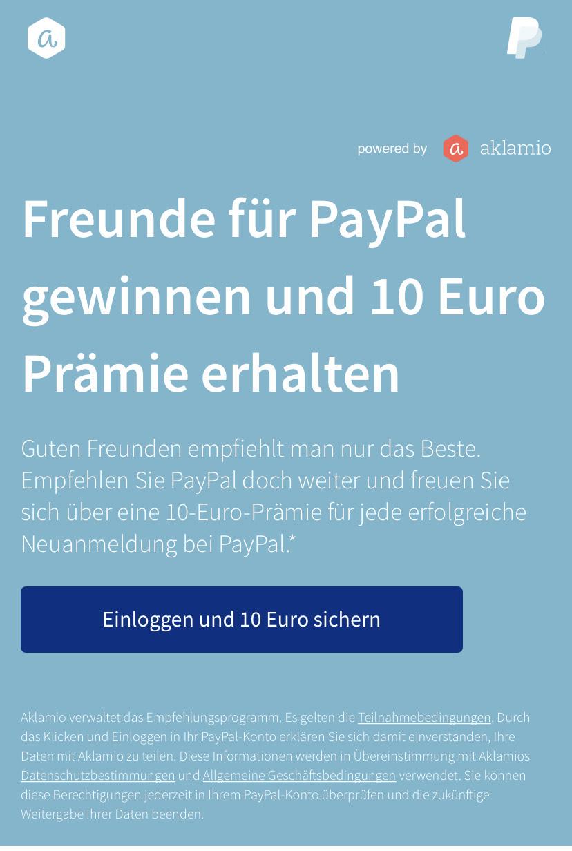 10€ pro geworbenem Freund für Paypal