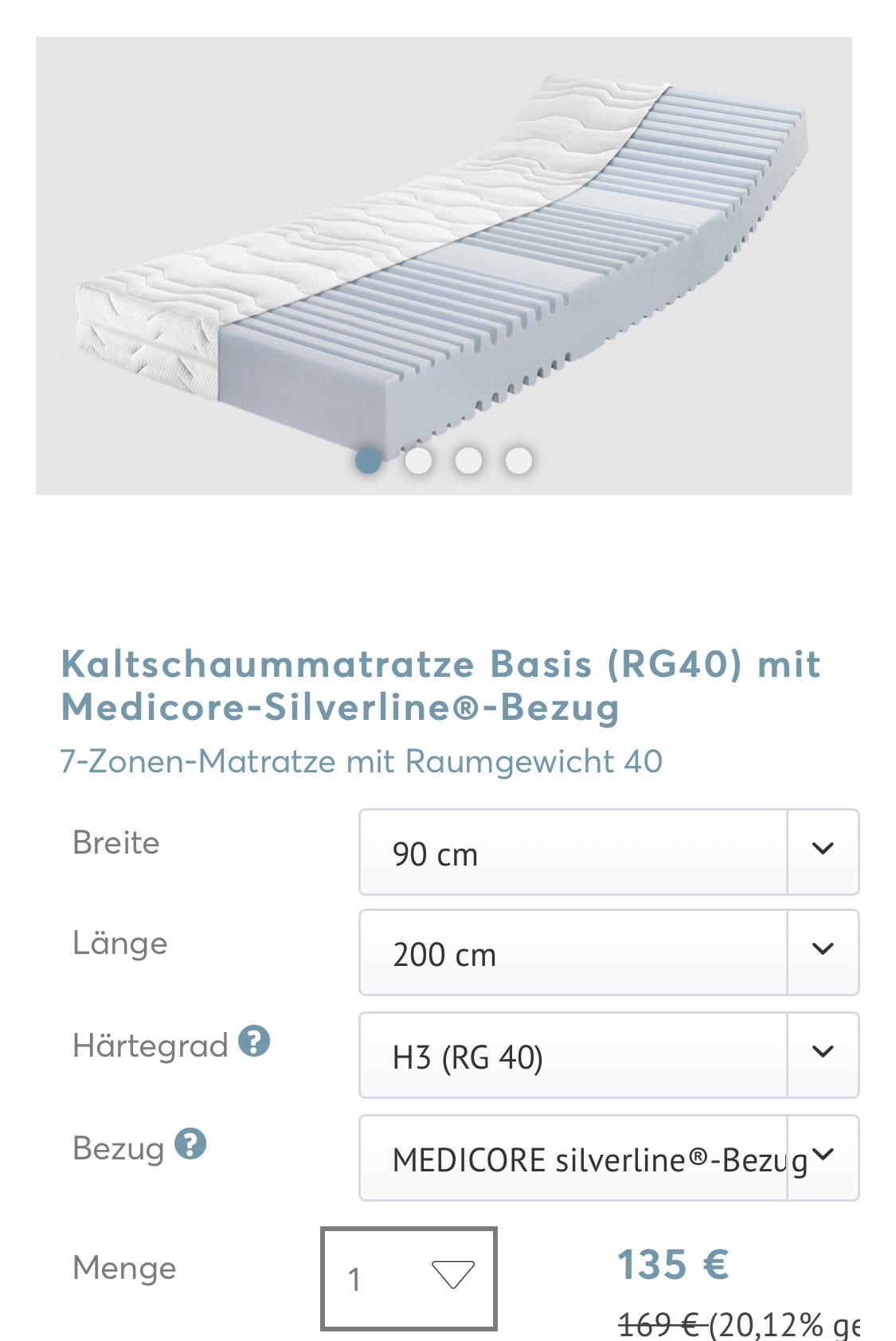 Ravensberger Winter Sale   bis zu 20% auf Matratzen Lattenroste   z.B. H3 Basis Kaltschaum-Matratze