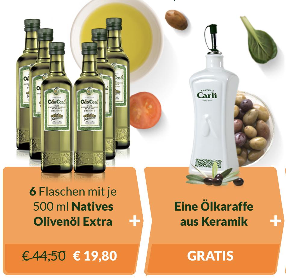 Olio Carli Erstbesteller: 6 Flaschen Natives Olivenöl Extra je 500ml + Ölkaraffe aus Keramik für 19,80€ inkl. Versandkosten