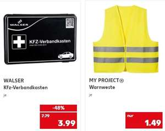 [Kaufland ab 14.01 ]Walser KFZ-Verbandkasten (nach DIN 13164-2014) für 3,99€ /Warnweste für 1,49€