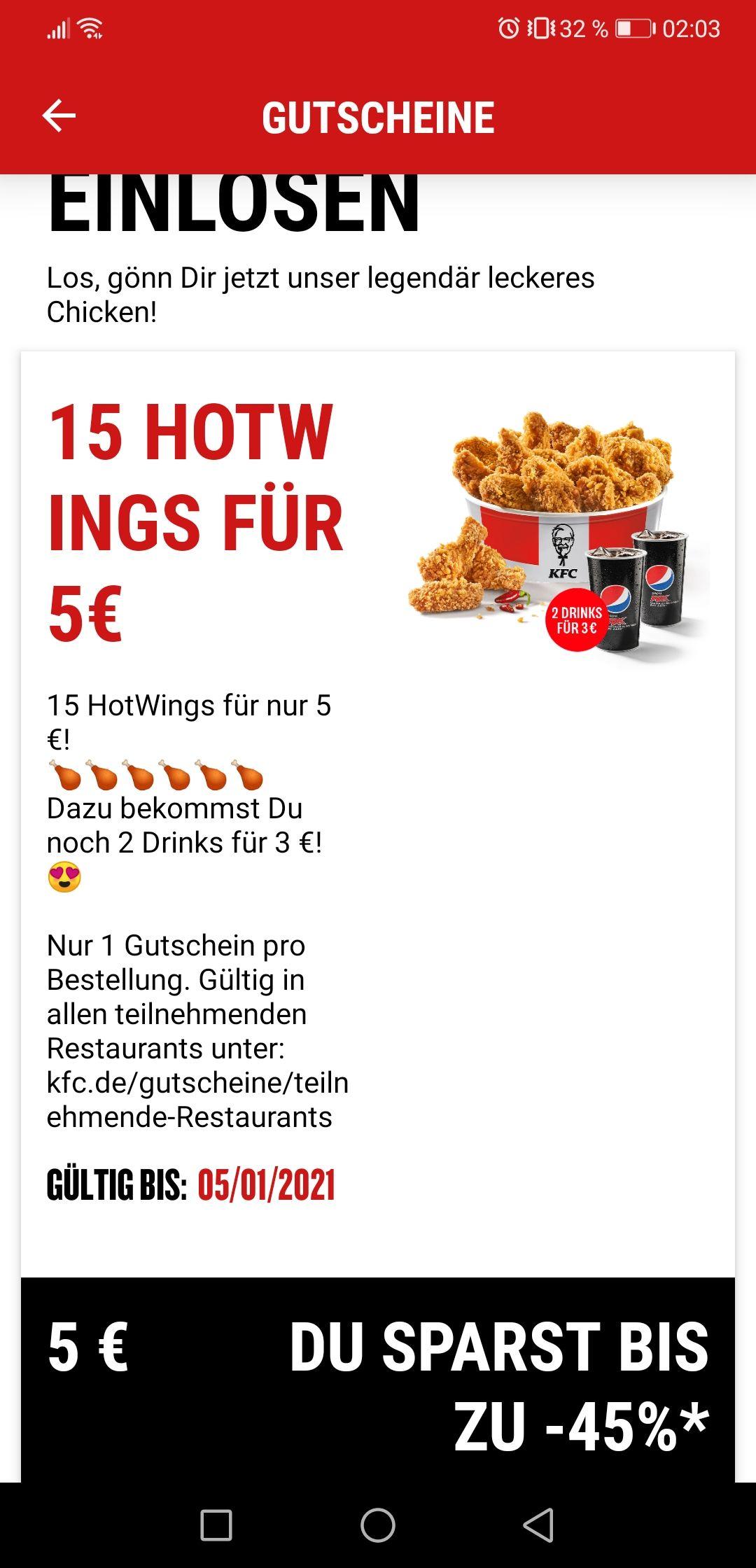 KFC 15 Hot Wings für 5 Euro - nur heute am 05.01.2021