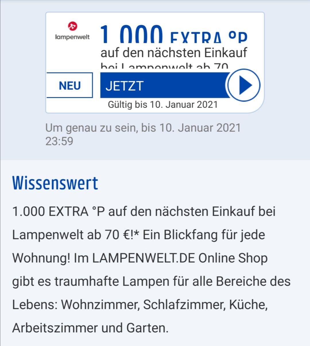 [lampenwelt.de / Payback] 1.000 Payback Punkte ab 70 € / 12 % Neujahrsgutschein oder 20 € Newsletter ab 150 € / ab 50 € Gratisversand