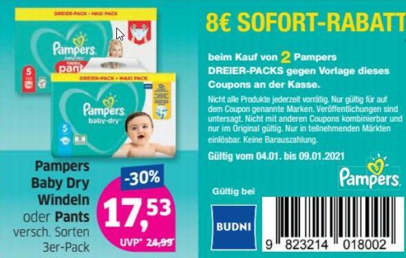 [Budni] Pampers Baby Dry und Pants Dreier-Pack