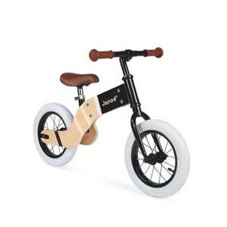 [babymarkt.de] Janod® Laufrad Deluxe, natur/schwarz, aus Holz mit höhenverstellbarem Sitz + zwei Modelle