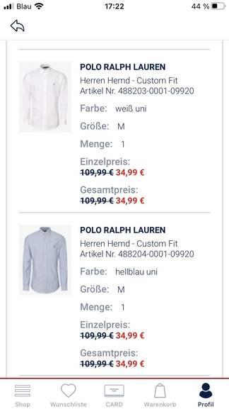 Polo Ralph Lauren Hemd Custom Fit (P&C) - 30% extra