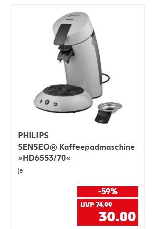 [Regional Kaufland Leipzig,Ahaus,Iserlohn,Bad Salzungen, Pullheim,Nettetalab 21.01] PHILIPS SENSEO® Kaffeepadmaschine »HD6553/70« für 30,-€