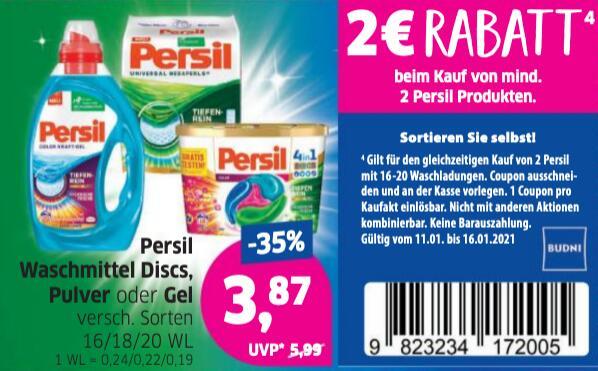 Persil Waschmittel (Pulver, Flüssig und Discs) bei Budni für 2,87 Pro Packung/0,16€ WL