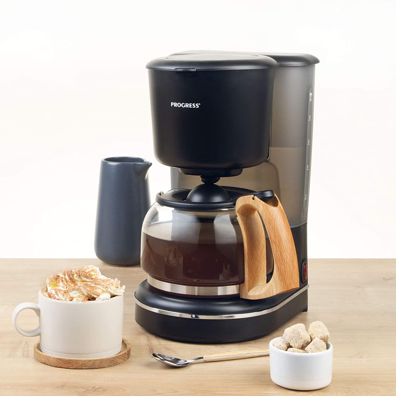 Progress Scandi Kaffeemaschine mit Holz-Effekt-Oberfläche Automatische Abschaltung bei Warmhalten und Anti-Drip-Funktion, 1080 W, 1.25 l