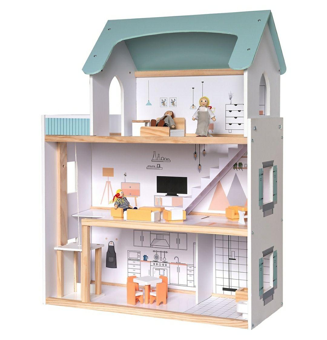 Grosses Holz Puppenhaus mit Möbeln und Puppen