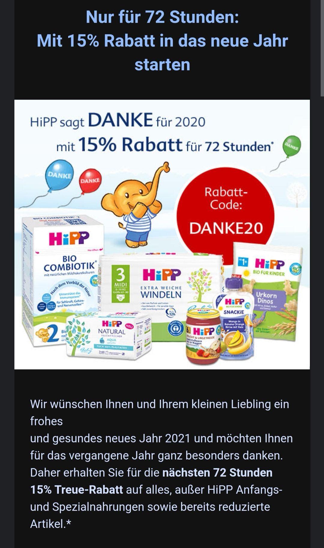 Hipp.de Shop bietet 15% Rabatt 72Stunden lang