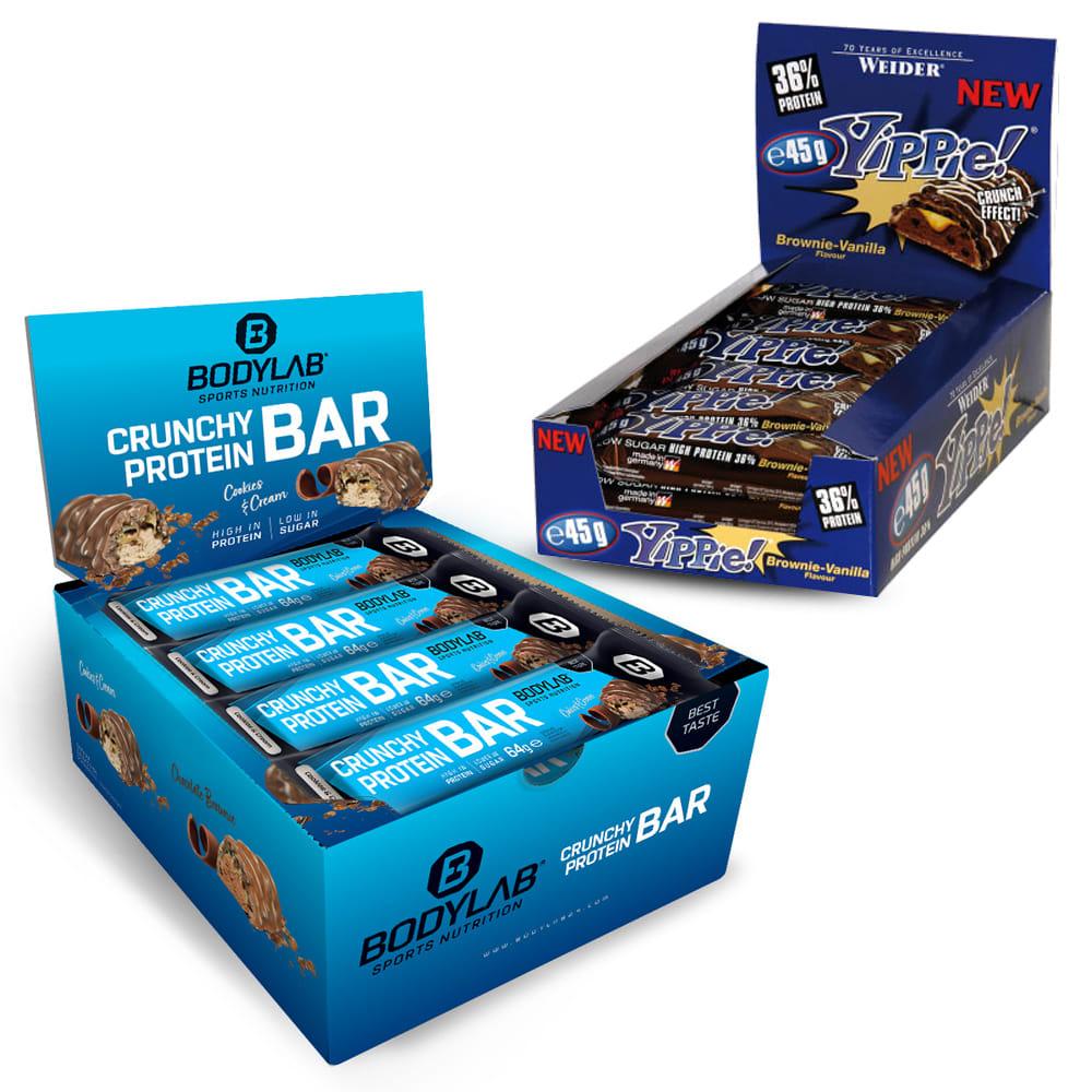 12x 45g Weider Yippie! Bar (2 Sorten, MHD 22.02.) + 12x 64g Bodylab24 Crunchy Protein Bar (4 Sorten, normales MHD)