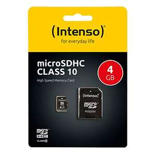 (Prime) Intenso Micro SDHC 4GB Class 10 Speicherkarte inkl. SD-Adapter schwarz