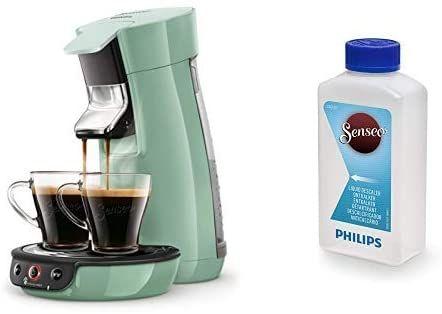 [Amazon] Philips Senseo Viva Cafe HD6563/10 Kaffeepadmaschine grün mit Flüssigentkalker CA6520/00