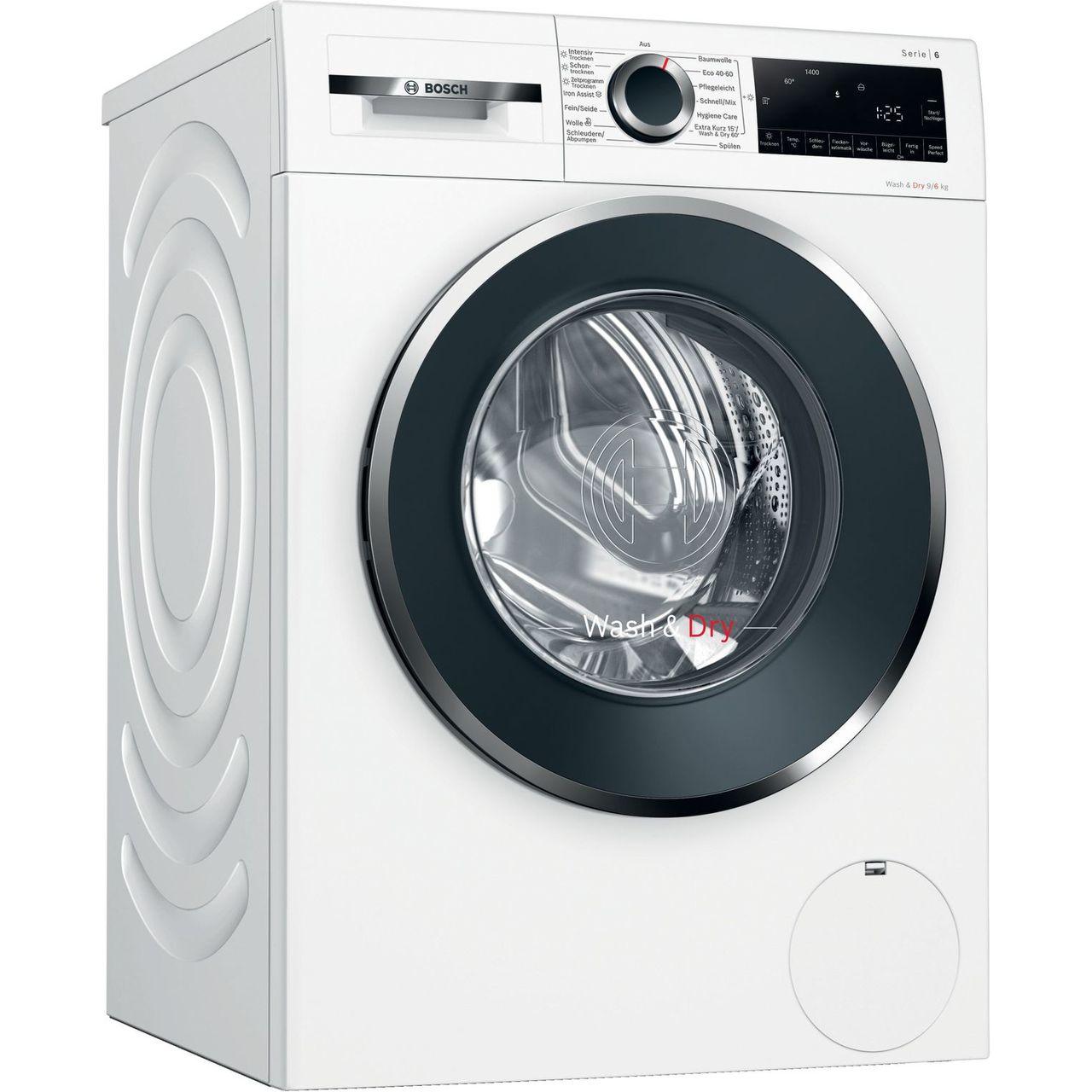 Bosch Serie 6 WNG24440 Waschtrockner - 9 kg Waschen / 6 kg Trocknen - Inverter Motor, Weiß, 1400 U/Min