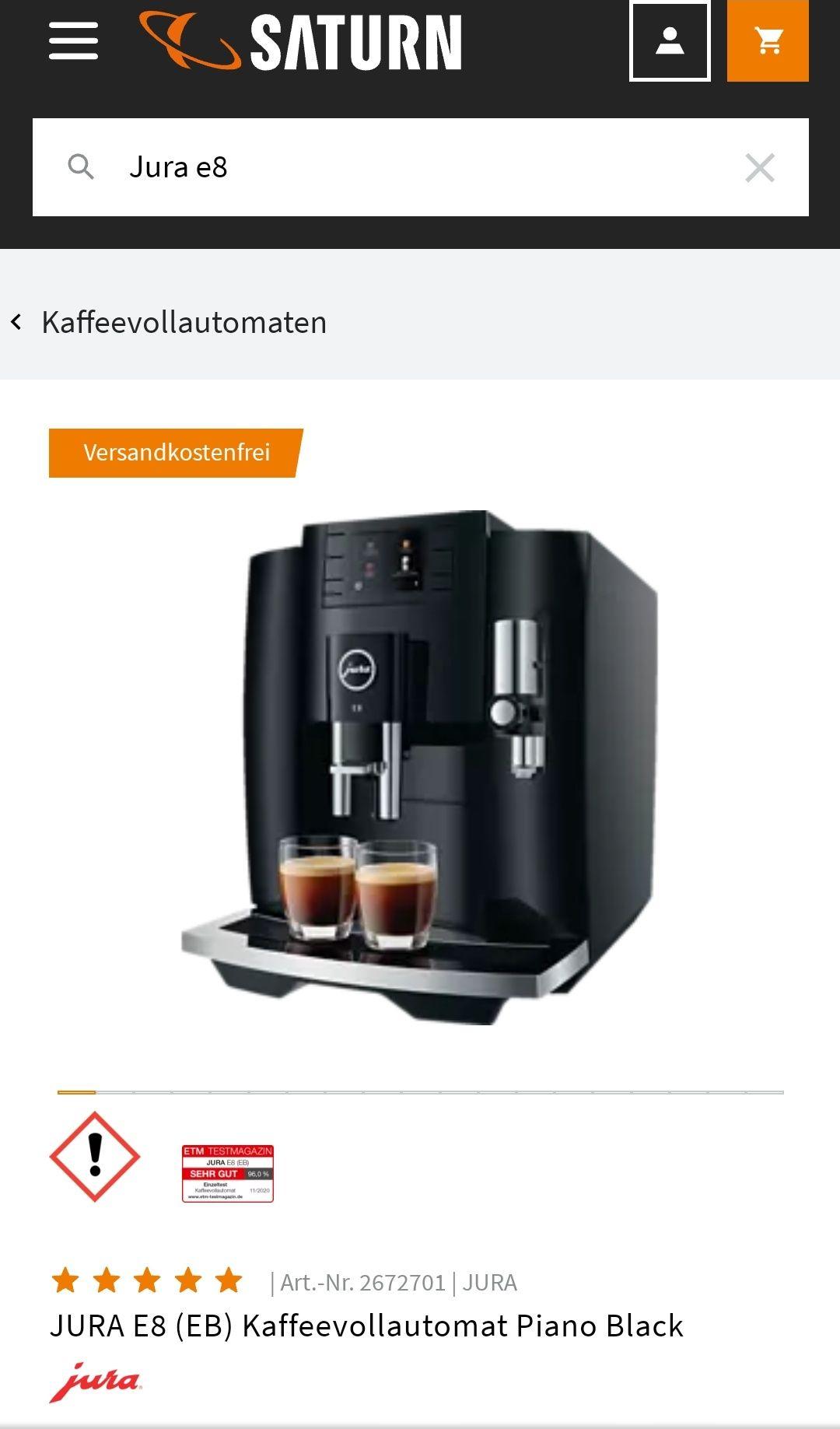 JURA Kaffee-Vollautomat E8 (EB) Piano Black