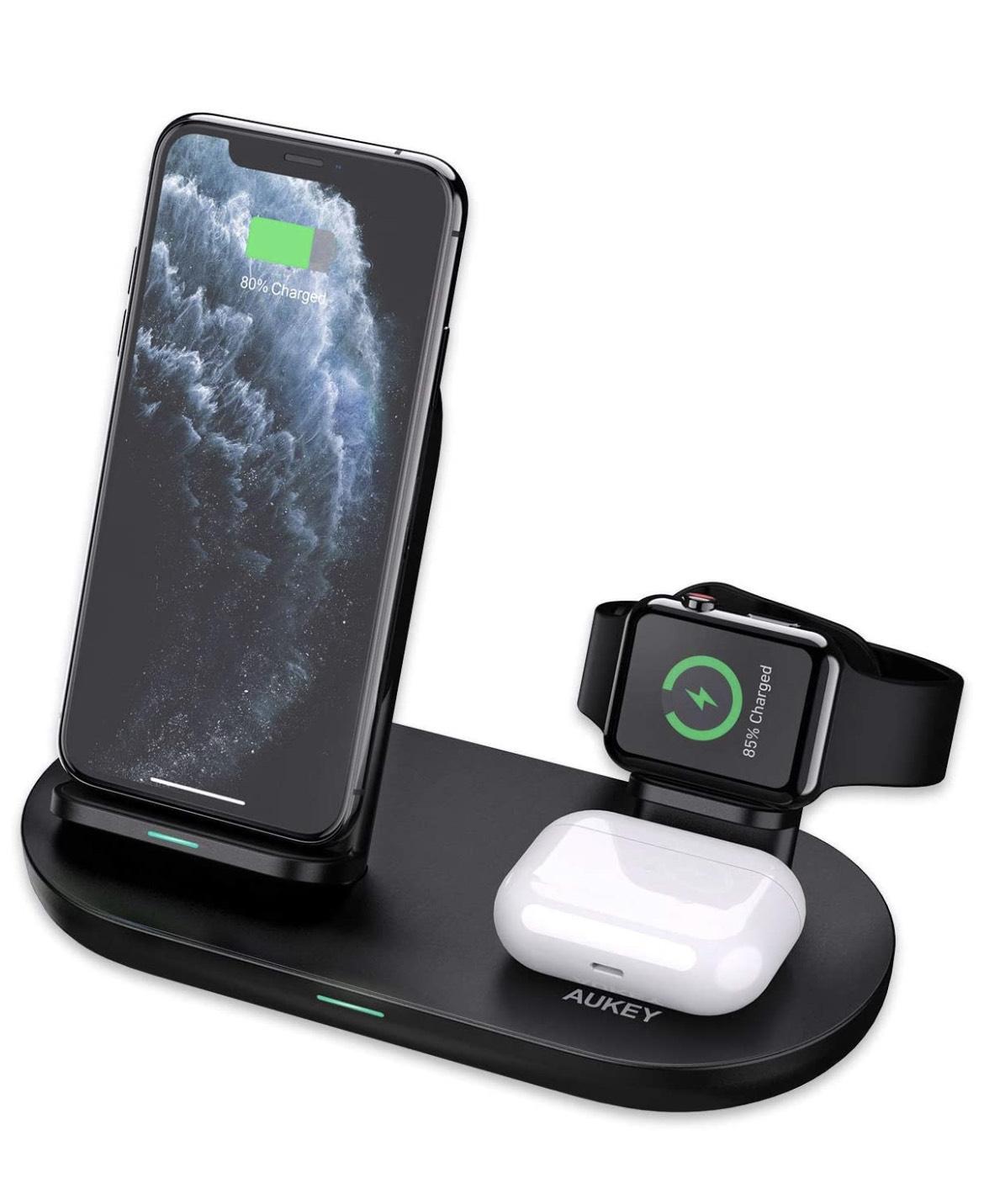 AUKEY 3 in 1 kabelloses Ladegerät für iPhone, AirPods und Apple Watch